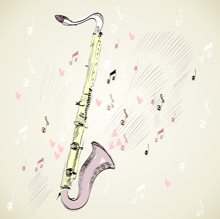 tenor: drawn illustration of a musical instrument clarinet.
