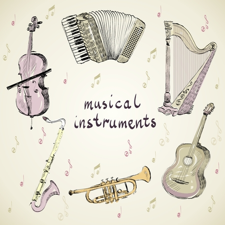 hand drawn set of classical musical instruments Vectores