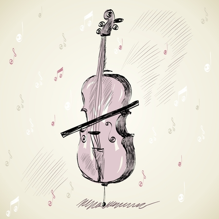 cellos: hand drawn of classical stringed music instruments