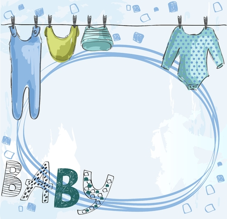 romper: Cute hand drawn  illustration of baby clothes Illustration