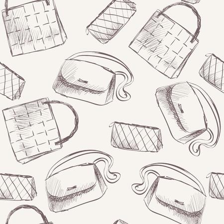 handbags: trendy fashion  handbags.  Fashionable Hand drawn illustration.