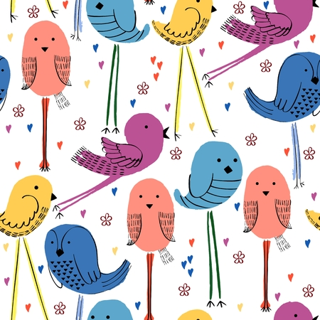 Vector Seamless pattern with cute  cartoon bird.
