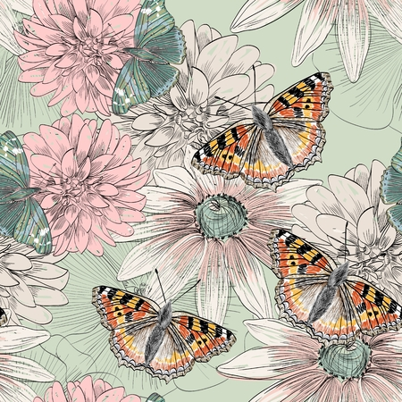 smeared: hand drawing butterfly and flowers on smeared paint brush Illustration