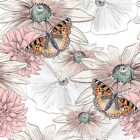 hand drawing butterfly and flowers on smeared paint brush Illustration
