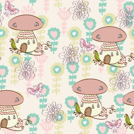mushroom house: Cute hand draw seamless pattern with a mushroom house