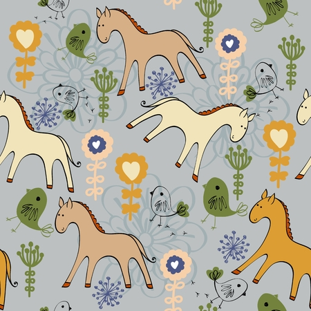 horse care: Cute hand draw seamless pattern with horse. Illustration