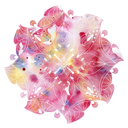 tantra: Mandala  colorful watercolor. Beautiful round pattern. Detailed abstract pattern. Decorative isolated. Stock Photo