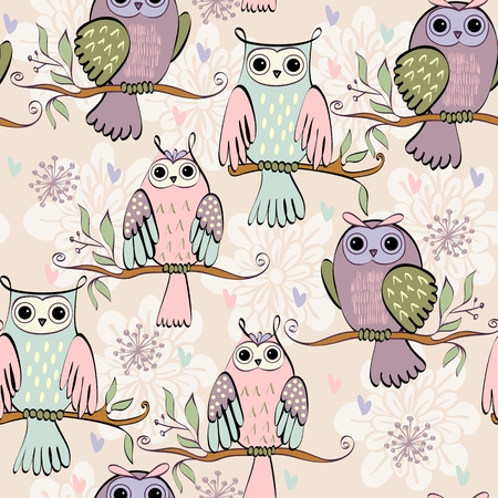 owl illustration: illustration with owl sitting on the branches Illustration