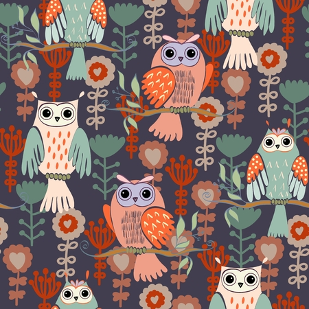 illustration with owl sitting on the branches  イラスト・ベクター素材