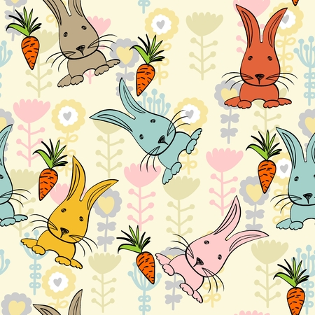 babies hand draw seamless pattern with rabbits