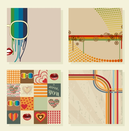 Artistic cards in retro style. Vector background.