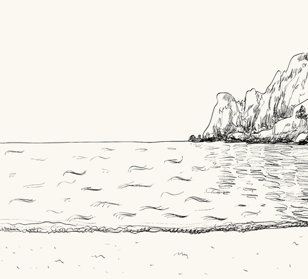 oceanside: Vector summer seascape sketch.  Seaside view and mountain Illustration