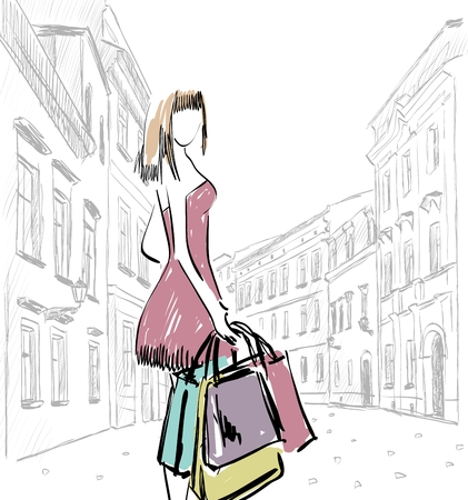 lady shopping: vector illustration of a woman with shopping bags Illustration