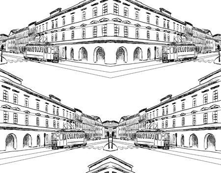 landscape architecture: City sketch. Seamless pattern hand drawn illustration Illustration