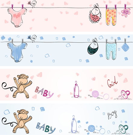 set of Babies banners. Hand drawn illustration. Vectores