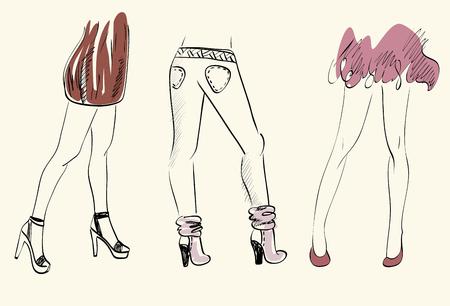 handdrawn: Three girls in fashionable shoes. Hand-drawn illustration.