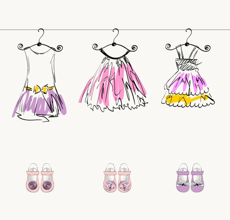 fashionable beautiful clothes for little girls  イラスト・ベクター素材