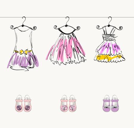 Bei vestiti alla moda per bambine Archivio Fotografico - 64368722