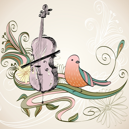 hand drawn of classical stringed music instruments