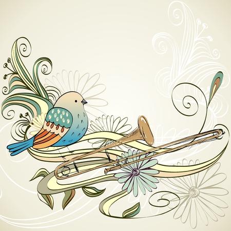 trombone: hand drawn trombone on a light background