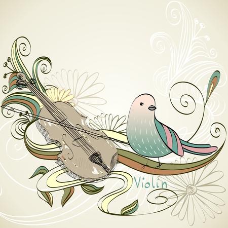 dibujado a mano violín sobre un fondo claro