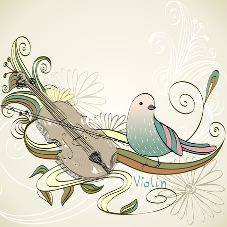 hand drawn violin on a light background