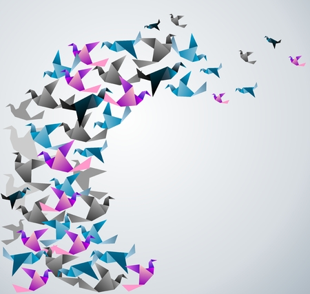 transformed: Origami abstract background. Paper is transformed to birds.