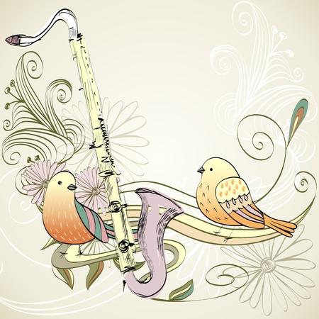clarinete: drawn illustration of a musical instrument clarinet.