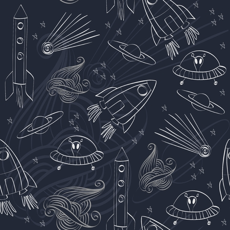 comet: Seamless pattern with rockets, comet, planets and ufo. Childish background. Illustration