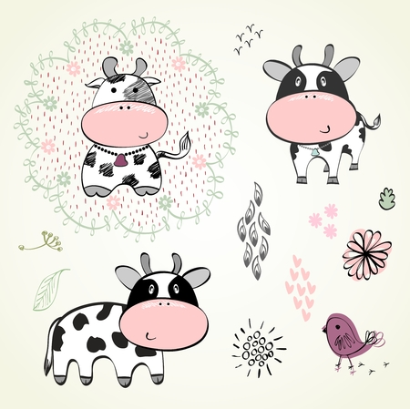 calves: Set of  hand drawn cute calves cartoons.