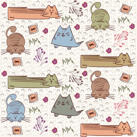 trapeze: seamless pattern with unusual cats Illustration