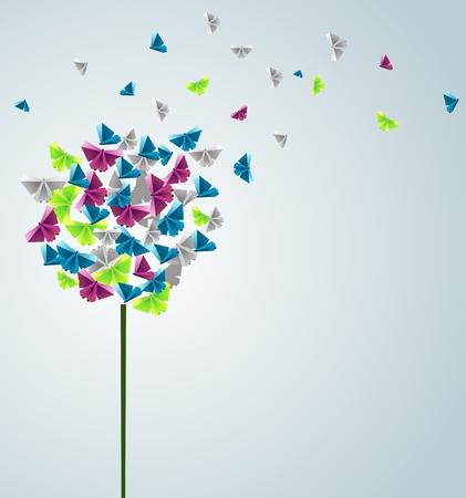 Origami di vettore astratto. farfalle di carta. Archivio Fotografico - 64500707