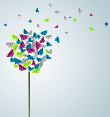 Vector  origami  abstract background. Paper butterflies. Vectores