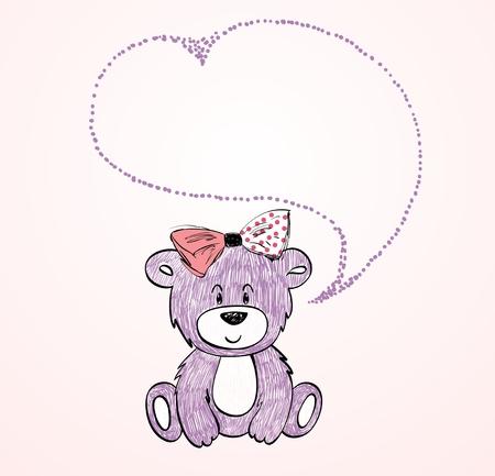 Baby bear cartoon. Vector hand drawn illustration.