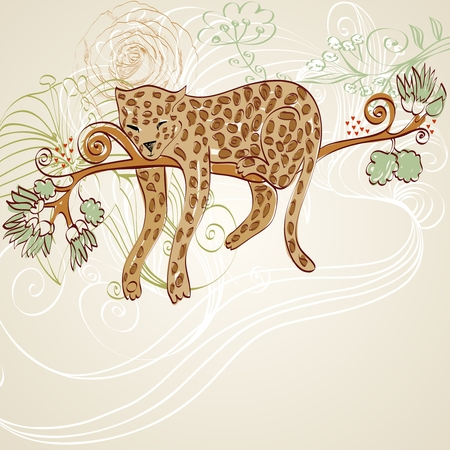 vector cartoon  leopard sleeping on a branch