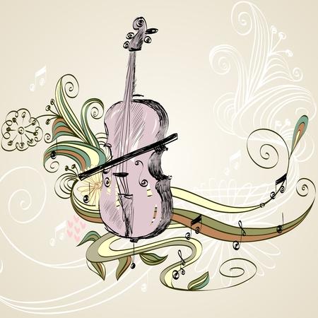 Disegnata a mano di strumenti musicali a corda classici Archivio Fotografico - 64500770
