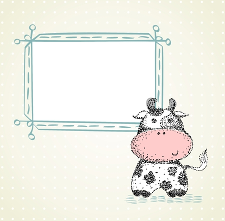 Hand drawn illustration with frame and cow.
