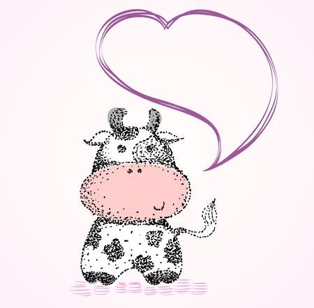 vector babies hand drawn  illustration with cows