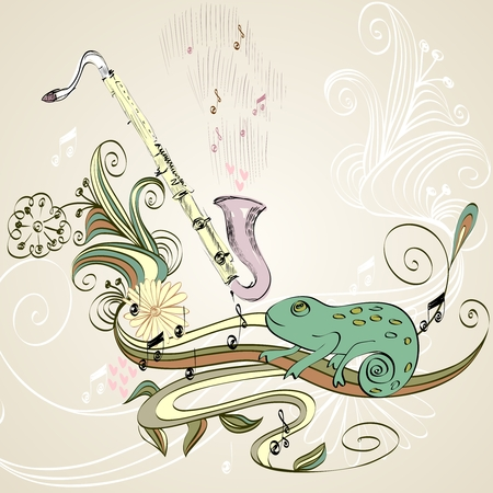 soprano saxophone: drawn illustration of a musical instrument clarinet.