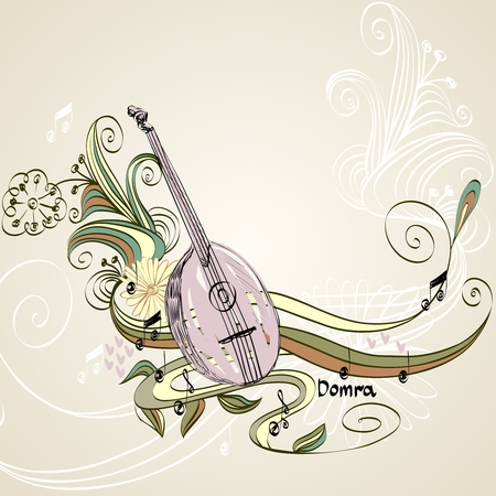 lute: Hand drawn domra on a light background.