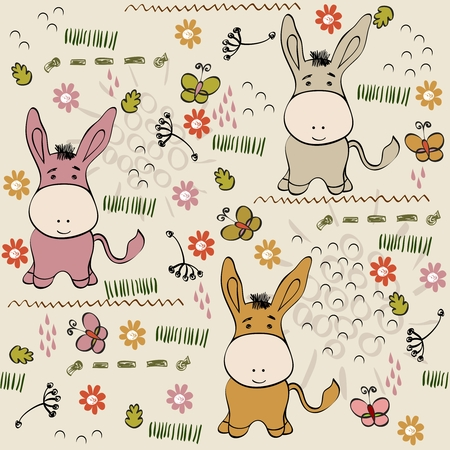 burro: babies hand draw seamless pattern with burros