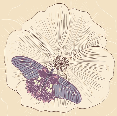 butterfly flying: Illustration of beautiful butterfly flying around flower. Illustration