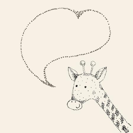 Baby giraffe cartoon. Vector hand drawn illustration.