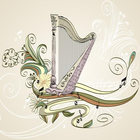 sketch acoustic harp on a beige background Illustration