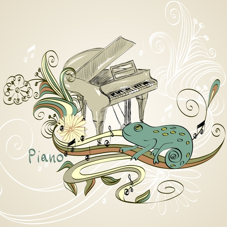 symphonic: sketch grand piano on a beige background