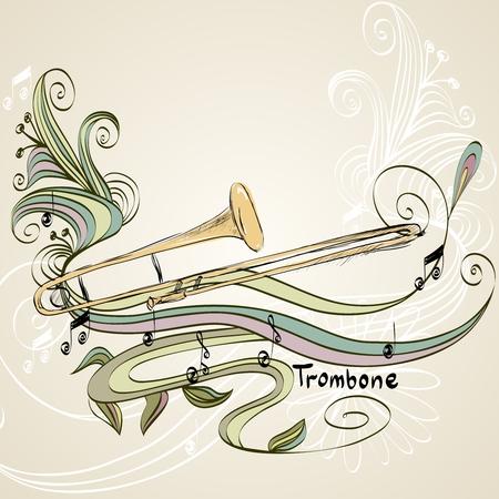 hand drawn trombone on a light background