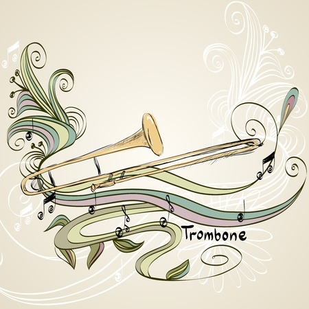 hand drawn trombone on a light background