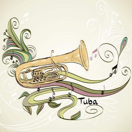 tuba: hand drawn tuba on a light background