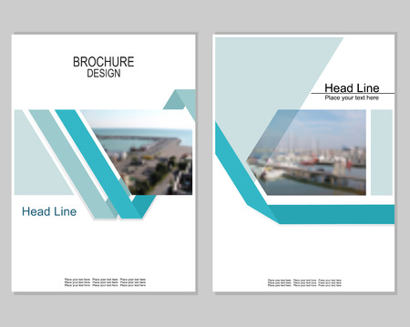 sea port: Vector brochure cover templates with blurred seaport. Business brochure cover design. EPS 10. Mesh background.