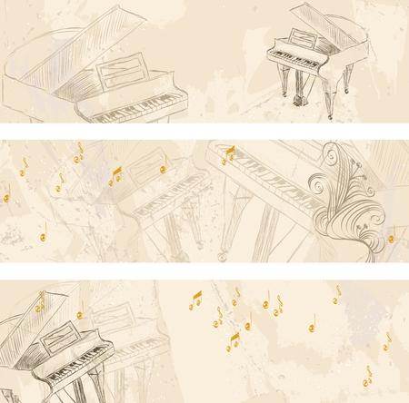 Vectorschets Grand Piano op een lichte achtergrond. banners Vector Illustratie